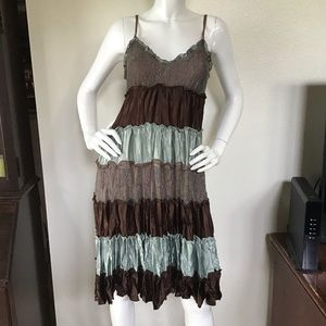 Guess Satin & Lace Striped Boho Dress XS